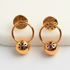 Tory Burch Rose Gold Logo Bead Drop Earrings